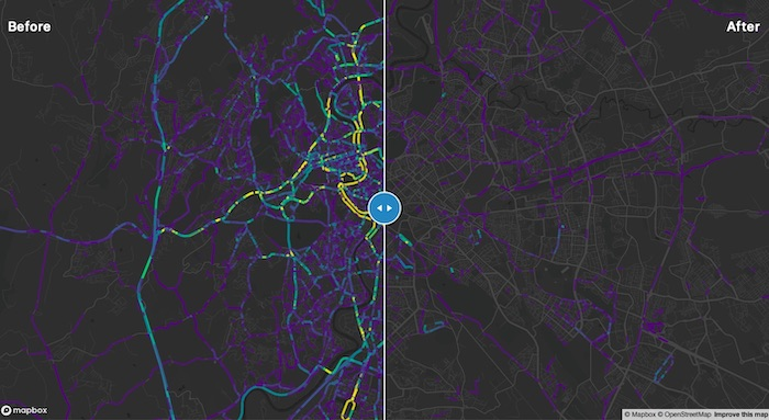 MapboxTraffico red